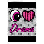 Emo Eye Heart I Love Drama Greeting Card