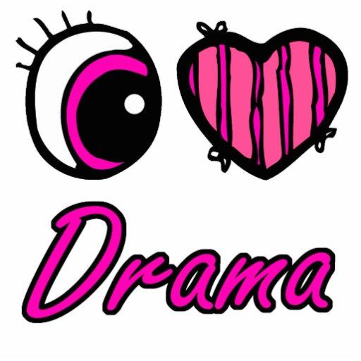Emo Eye Heart I Love Drama Photo Sculpture Keychain
