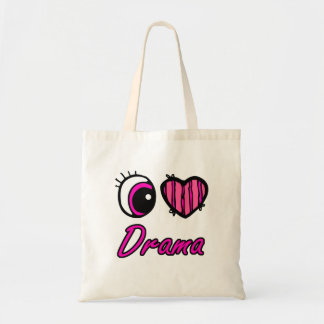 Emo Eye Heart I Love Drama Tote Bag