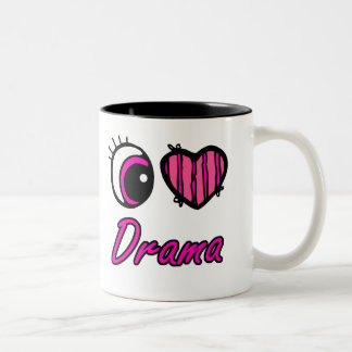 Emo Eye Heart I Love Drama Two-Tone Coffee Mug