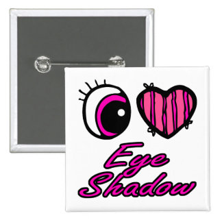 Emo Eye Heart I Love Eye Shadow Pinback Button