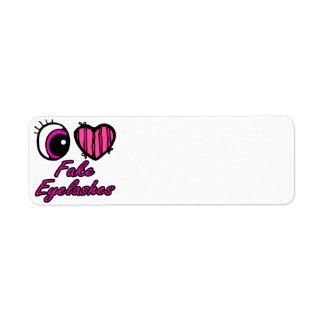 Emo Eye Heart I Love Fake Eyelashes Shipping Labels