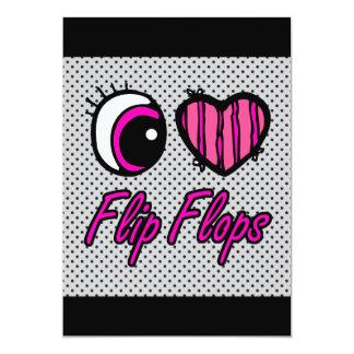 Emo Eye Heart I Love Flip Flops Card