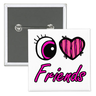 Emo Eye Heart I Love Friends 2 Inch Square Button
