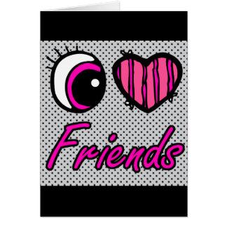 Emo Eye Heart I Love Friends Card