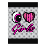 Emo Eye Heart I Love Girls Personalized Announcements