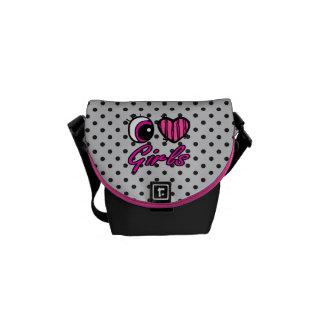 Emo Eye Heart I Love Girls Messenger Bag