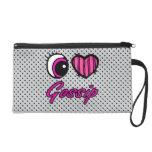 Emo Eye Heart I Love Gossip Wristlet Clutches