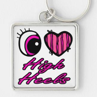 Emo Eye Heart I Love High Heels Silver-Colored Square Keychain