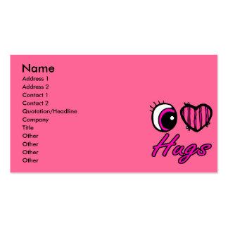 Emo Eye Heart I Love Hugs Business Card Templates