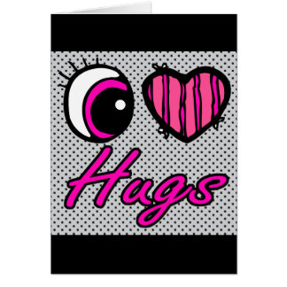 Emo Eye Heart I Love Hugs Card