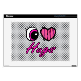 """Emo Eye Heart I Love Hugs Decal For 15"""" Laptop"""