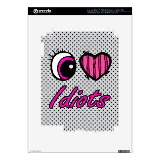 Emo Eye Heart I Love Idiots Decals For iPad 3