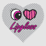 Emo Eye Heart I Love Lipgloss Heart Sticker