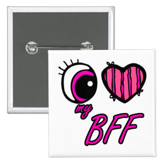 Emo Eye Heart I Love my BFF Best Friend Forever Button