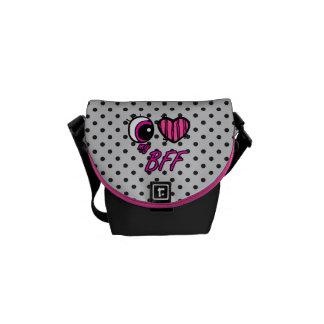 Emo Eye Heart I Love my BFF Best Friend Forever Messenger Bag