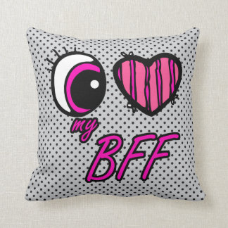 Emo Eye Heart I Love my BFF Best Friend Forever Throw Pillow