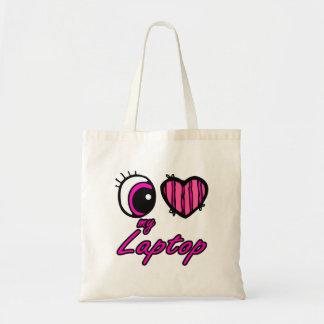 Emo Eye Heart I Love my Laptop Budget Tote Bag