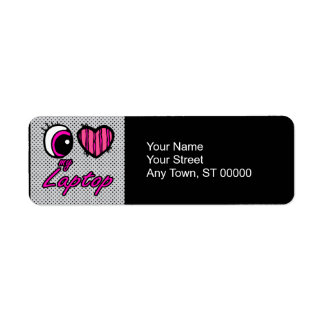 Emo Eye Heart I Love my Laptop Label