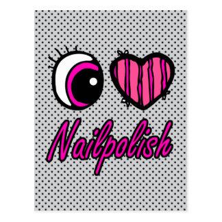 Emo Eye Heart I Love Nail polish Postcard