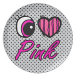 Emo Eye Heart I Love Pink Party Plates