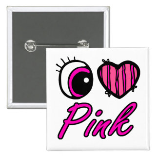 Emo Eye Heart I Love Pink Pinback Button