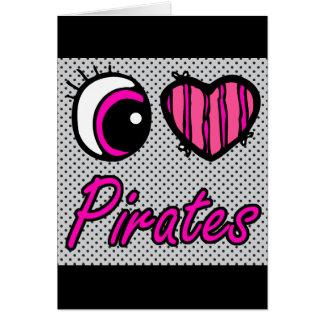 Emo Eye Heart I Love Pirates Card