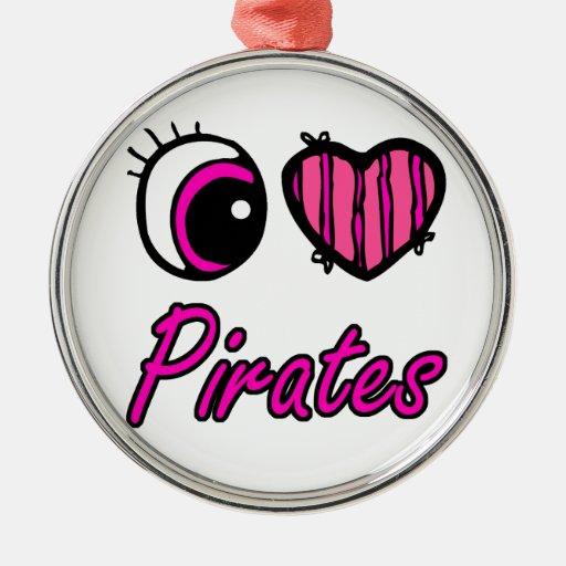 Emo Eye Heart I Love Pirates Round Metal Christmas Ornament