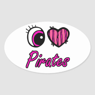 Emo Eye Heart I Love Pirates Oval Sticker