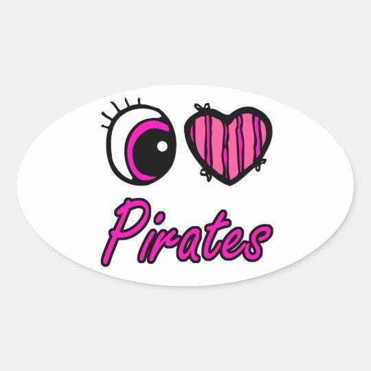 Emo Eye Heart I Love Pirates Oval Sticker