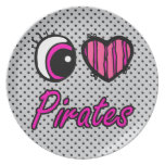 Emo Eye Heart I Love Pirates Party Plates