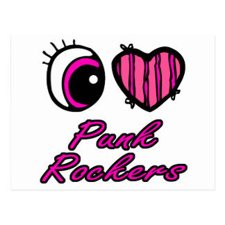 Emo Eye Heart I Love Punk Rockers Postcard