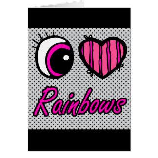 Emo Eye Heart I Love Rainbows Card