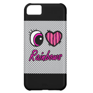 Emo Eye Heart I Love Rainbows Cover For iPhone 5C
