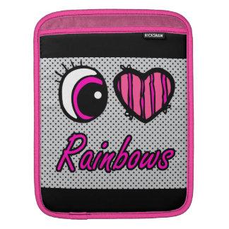 Emo Eye Heart I Love Rainbows Sleeves For iPads