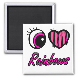 Emo Eye Heart I Love Rainbows Magnet