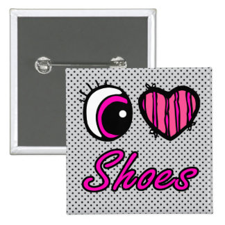 Emo Eye Heart I Love Shoes 2 Inch Square Button
