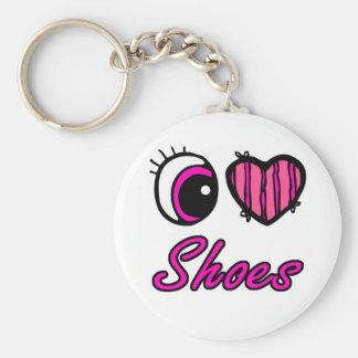 Emo Eye Heart I Love Shoes Basic Round Button Keychain