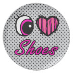 Emo Eye Heart I Love Shoes Party Plates