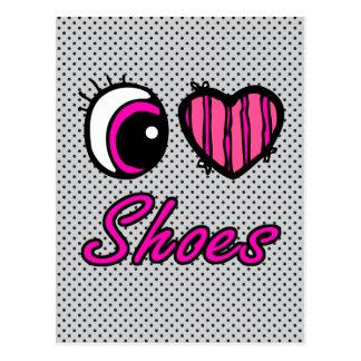 Emo Eye Heart I Love Shoes Postcard