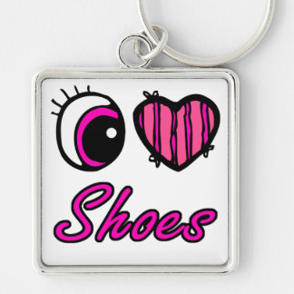 Emo Eye Heart I Love Shoes Silver-Colored Square Keychain