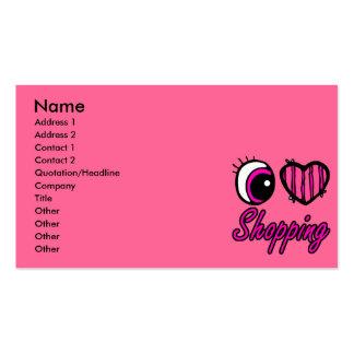 Emo Eye Heart I Love Shopping Business Card Templates