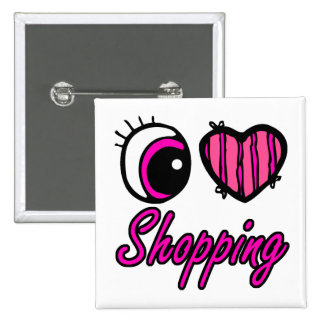 Emo Eye Heart I Love Shopping Button