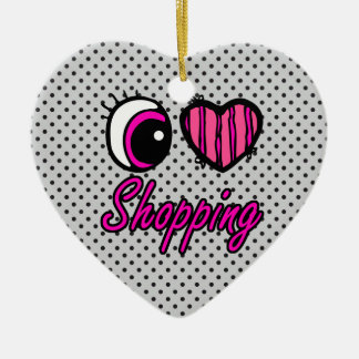 Emo Eye Heart I Love Shopping Double-Sided Heart Ceramic Christmas Ornament