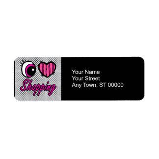 Emo Eye Heart I Love Shopping Label