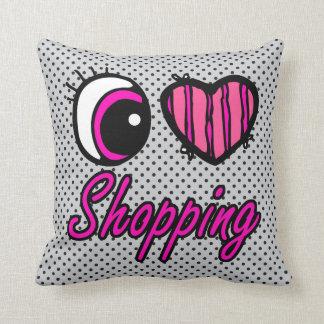 Emo Eye Heart I Love Shopping Throw Pillow