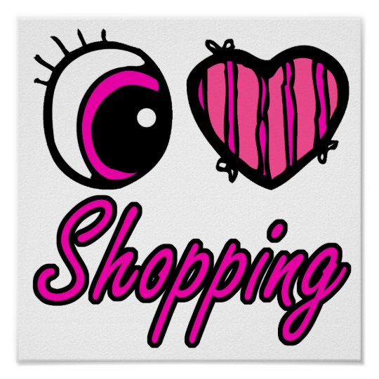 Emo Eye Heart I Love Shopping Poster