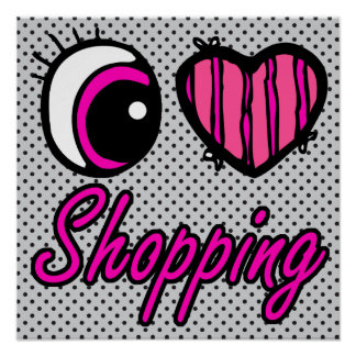Emo Eye Heart I Love Shopping Posters