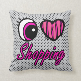 Emo Eye Heart I Love Shopping Throw Pillow