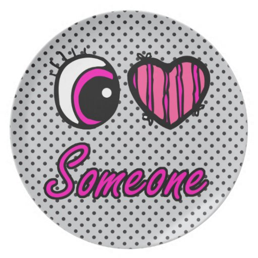 Emo Eye Heart I Love Someone Party Plates